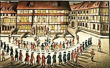 Aufzug Göttinger Studenten für Münchhausen aus Anlass der Inauguration vor dem Kommandantenhaus (Quelle: Wikimedia)