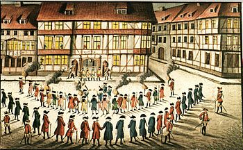 Elevator from Göttingen students in front of the commandant's house secured by sentries for Gerlach Adolph von Münchhausen on the occasion of the inauguration on Weender Strasse 32 / Barfüßerstrasse