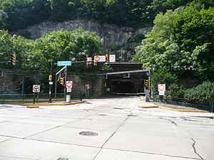 Mount Washington Transit Tunnel - North portal to the tunnel