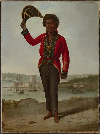 Portrait of the Aboriginal explorer and diplomat Bungaree in British dress at Sydney in 1826 Augustus Earle Portrait of Bungaree.jpg