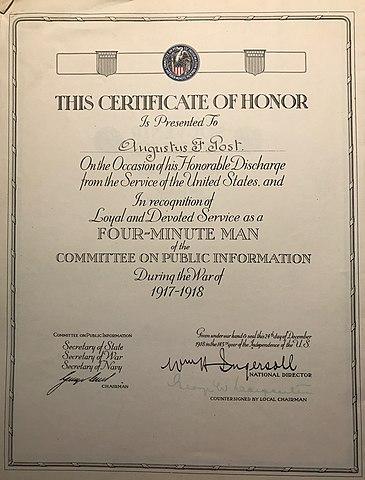 File:Augustus Post Certificate of Honor.jpg - Wikimedia Commons