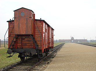 Holocaust train - Original carriage at the Judenrampe platform, Auschwitz-Birkenau Museum