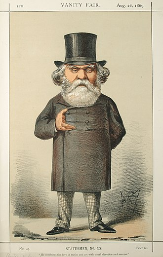 "Austen Henry Layard - Caricature from Vanity Fair, (Aug 1869) captioned ""He combines the love of truth and art with equal devotion and success"""