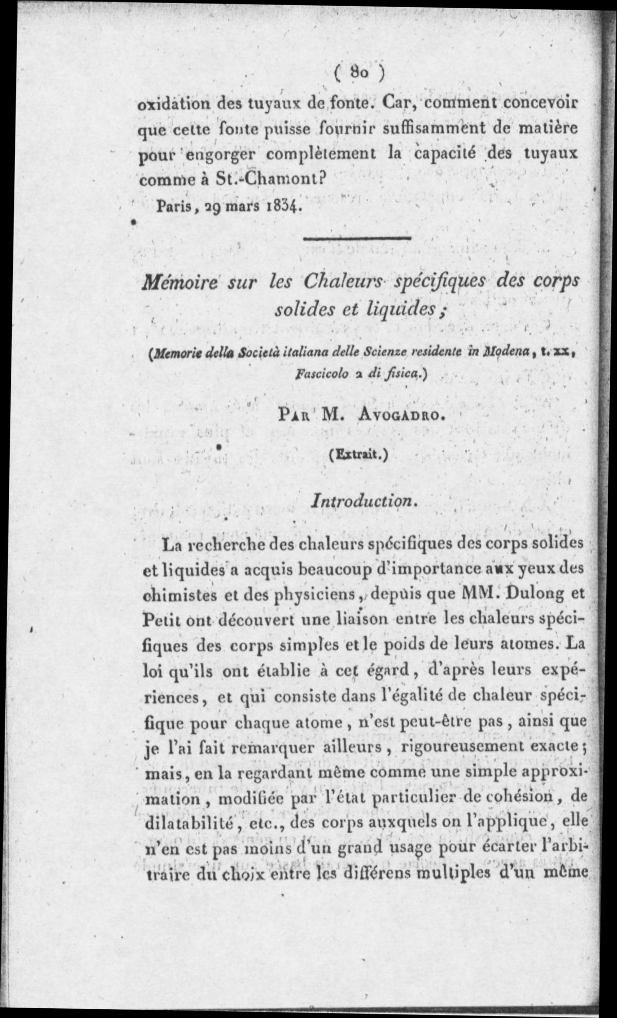 Avogadro - Mémoire sur les chaleurs spécifiques des corps solides et liquides, 1833 - 6060053 TOAS005003 00003.tif