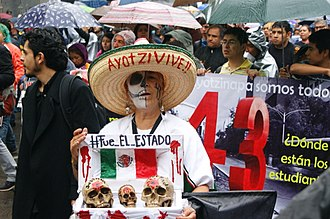 Demonstration on 26 September 2015, in the first anniversary of the disappearance of the 43 students in the Mexican town of Iguala Ayotz1napa ohs202.jpg