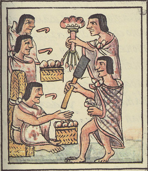Aztec Feast Illustration, Five Men Smoking