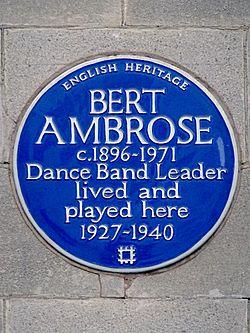 Photo of Bert Ambrose blue plaque