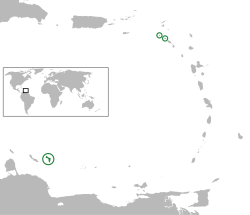 Location of the  BES islands  (green and circled)in the Caribbean.Left to right: Bonaire, Saba, Sint Eustatius.