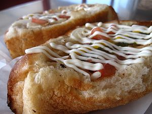 Sonoran hot dog - Sonoran hot dogs, with mayonnaise on top