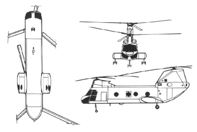 Orthographically projected diagram of the CH-46 Sea Knight.
