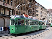 BVB Tram car 461, line 15 towards Bruderholz at Basel, Switzerland.jpg