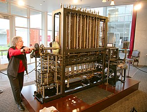 Babbage Difference Engine (Being utilised).jpg