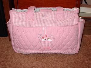 English: A typical baby's diaper bag, over-sho...