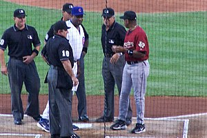 Dusty Baker - Baker meeting with Cecil Cooper of the Houston Astros prior to a 2006 matchup at Wrigley Field.
