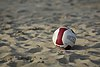 Ball used at a NCAA beach volleyball match at Stanford in 2016 (26424944002).jpg