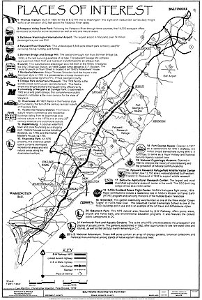 A map of a road running from Washington northeast to Baltimore with adjacent roads, communities, and landmarks listed. A brief description exists for each landmark.