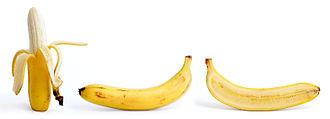 Banana - Peeled, whole, and cross section