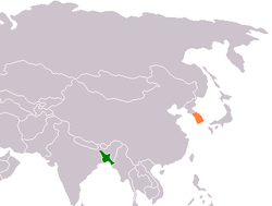 Map indicating locations of Bangladesh and South Korea
