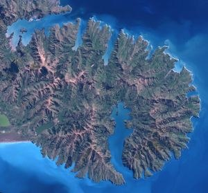 Timeline of volcanism on Earth - Image: Banks Peninsula from space