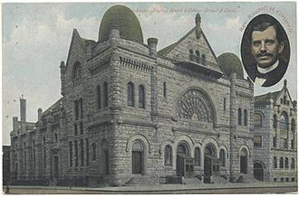Temple University - Postcard depicting the original Baptist Temple and Russell Conwell