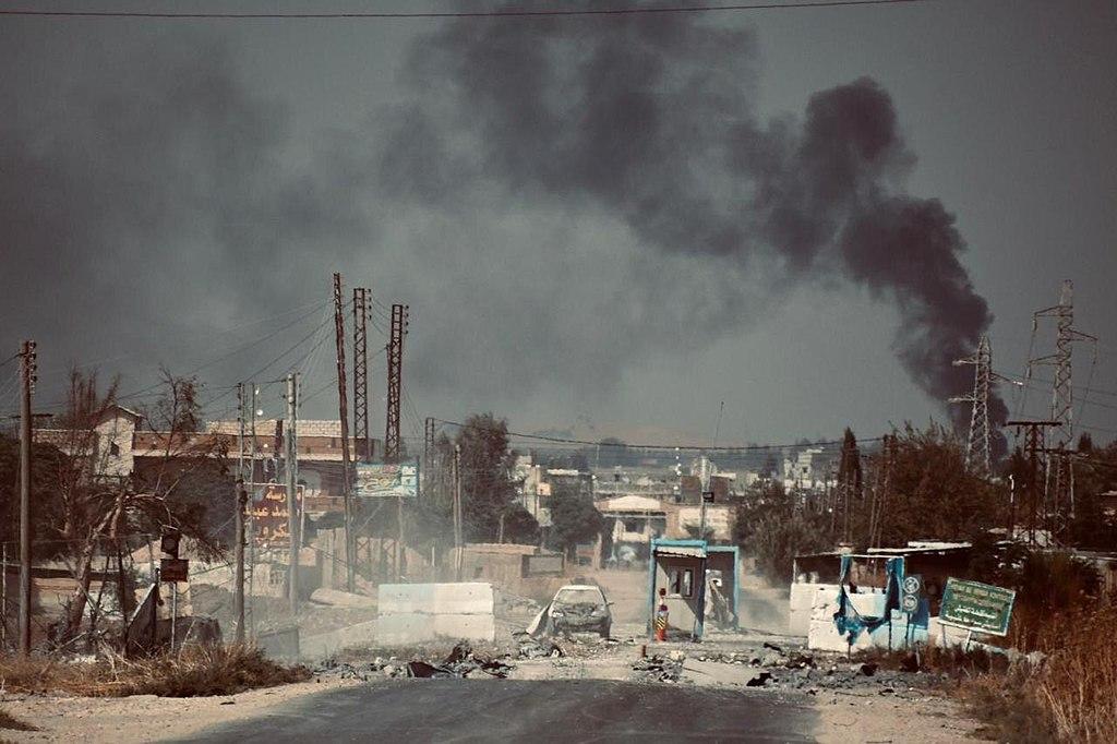 Barış Pınarı Harekatı sonrası Suriye Demokratik Güçleri tarafından terkedilmiş bir kontrol noktası