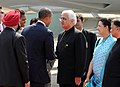 Barack Obama and the First Lady Mrs. Michelle Obama being welcomed by the Minister of State (Independent Charge) for Corporate Affairs and Minority Affairs, Shri Salman Khurshid, on their arrival.jpg