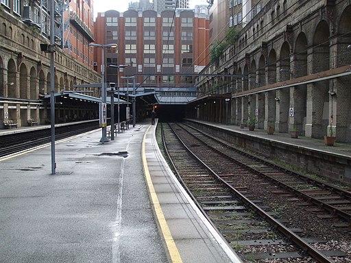 Barbican station Thameslink look east