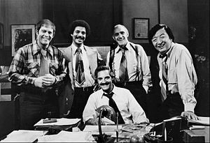 Jack Soo - Jack Soo (far right) with the Barney Miller cast.