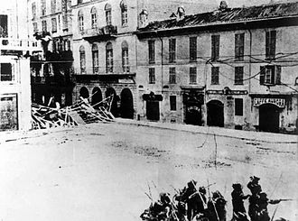 Bava-Beccaris massacre - Barricades of the rioters and intervention of the military, Milan 1898