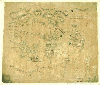 Battle of Short Hills - Map drawn by the Hessian officer Friedrich Adam Julius von Wangenheim showing the battle positions