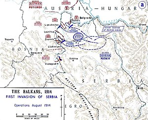 Map of Austrian invasion plans of Serbia, 1914.