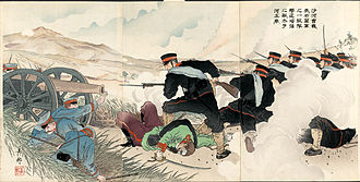 Imperial Guard (Japan) - A Ukiyo-e print of the Japanese Imperial Guard driving back Russian infantry at the Battle of Shaho during the Russo-Japanese War in 1904.