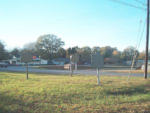 Battle of Adairsville - Three marker signs in Adairsville Cemetery, site of part of the battlefield, describe the battle.