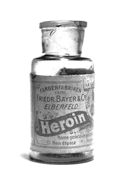 Bayer heroin bottle, originally containing 5 grams of Heroin substance. The label on the back references the 1924 US ban, and has a batch number stamp starting with 27, so it probably dates from the 1920's.