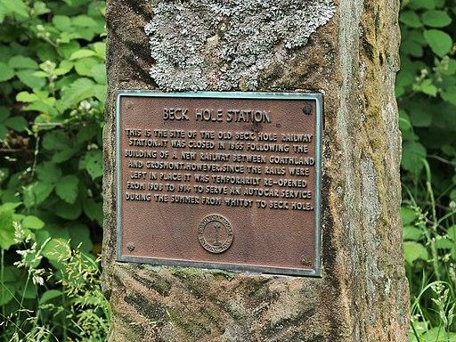 Beck Hole Station - memorial plaque