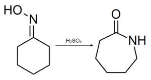 Cyclohexanone oxime - Image: Beckmann rearrangement of cyclohexanone oxime
