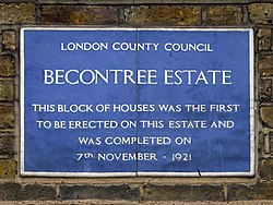 Becontree estate this block of houses was the first to be erected on this estate and was completed on 7th november 1921