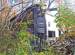 A section of house in a wooded area. Its roof has mostly collapsed and an interior wall is visible.