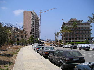 Battle of the Hotels - Ruins of the St Georges Hotel, on the right in 2005