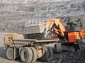 Belaz haul truck and a Hitachi mining excavator.jpg