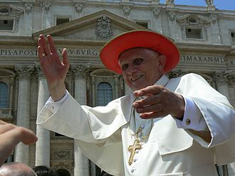 Pope Benedict XVI wearing Cappello Romano during an open-air Mass in 2007 Benedikt XVI.jpg