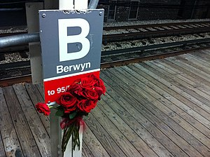 Berwyn station (CTA) - The sign of the Berwyn CTA Station