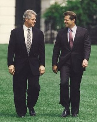 Bill Clinton - Clinton and Vice President Al Gore on the South Lawn, August 10, 1993