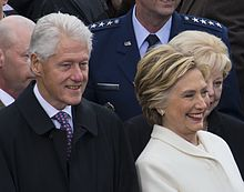 Photograph of Bill and Hillary Clinton attending Donald Trump's inauguration