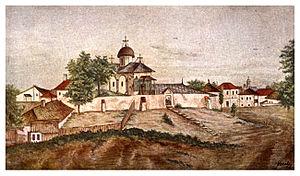 Bucur (legendary shepherd) - An 1856 painting of the Church of Bucur