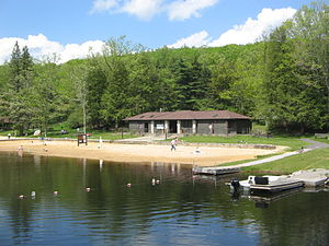 Black Moshannon State Park - The CCC-built beachhouse on the shores of Black Moshannon Lake near the bridge, where Antes Tavern and village were once located.