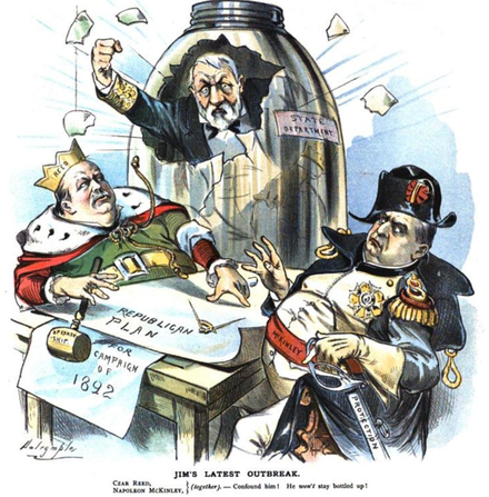 Even after his final run for president in 1884, James G. Blaine was still seen as a possible candidate for the Republican nomination. In this 1890 Puck cartoon, he is startling Reed and McKinley (right) as they make their plans for 1892. Blaine breaks out.png