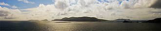 Blasket Islands - Panorama of the Blasket Islands against the afternoon sun