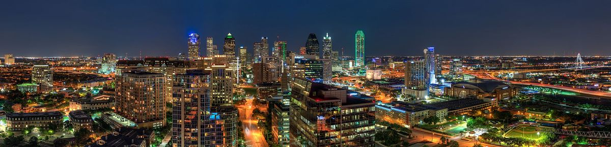 Bleu Ciel panoramic nightview of Downtown Dallas (20823639102).jpg