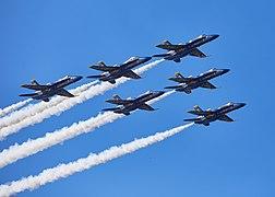 Blue Angels in delta formation during Fleet Week 2018.jpg